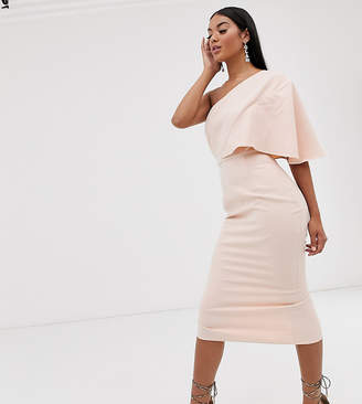 Pretty Lavish one shoulder midi dress in pink