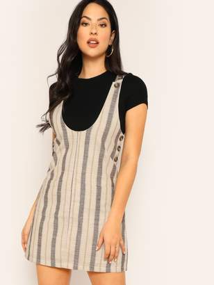 Shein Buttoned Straps Striped Front Pockets Dress