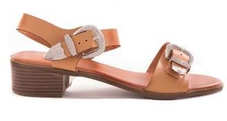 eda5c975774 Missy Empire Missyempire Cassie Tan Buckle Mid Heel Sandals