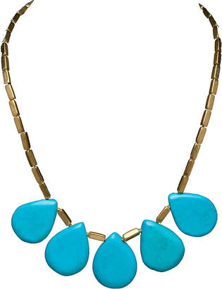 Brass Fusion 5 Turquoise Tear Shape Pieces on a Brass Chain