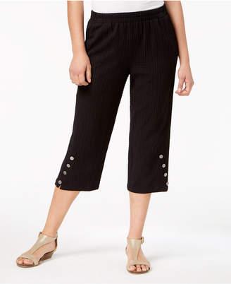 JM Collection Button-Hem Capri Pants