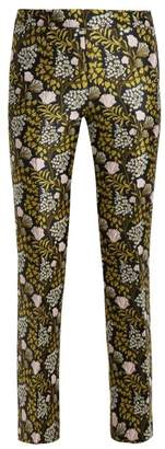 Giambattista Valli Floral Jacquard Kick Flare Trousers - Womens - Black Multi