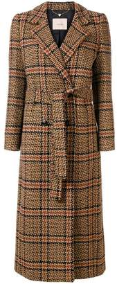 Twin-Set checked belted coat