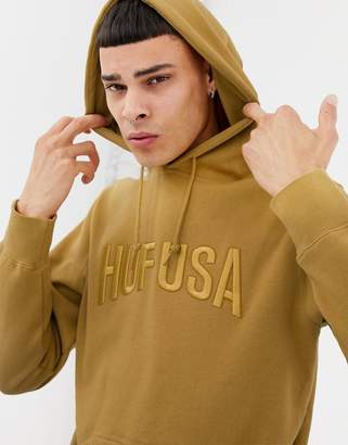 HUF Hoodie With Embroidered Team Logo In Honey Mustard