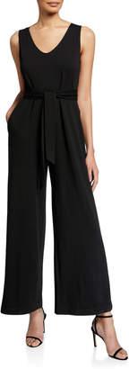 Max Studio French Terry Sleeveless Tie-Waist Jumpsuit