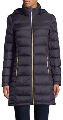 MICHAEL Michael Kors 36' Long Packable Down Navy Jacket