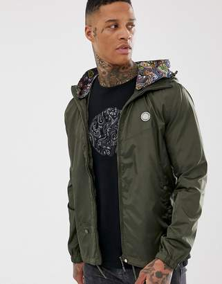 Pretty Green Darley lightweight jacket with removable hood lining in khaki