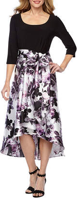 R & M Richards 3/4 Sleeve Floral High Low Evening Gown