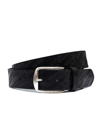 Armani Jeans All Over Script Leather Belt Colour: BLACK, Size: 38