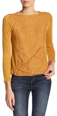 Jolt Lace Overlay Hacci Top