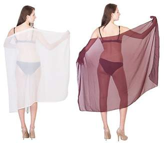 2Pack Beach Cover UP color Combo pack Chiffon Sarong in Free Size, by Linen Clubs
