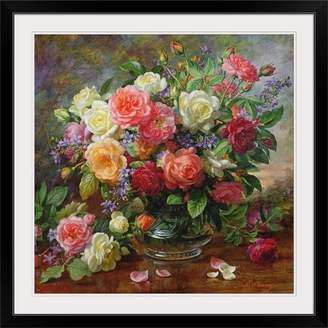 Great Big Canvas 'Roses - the Perfection of Summer' by Albert Williams Painting Print Format: Black Frame,