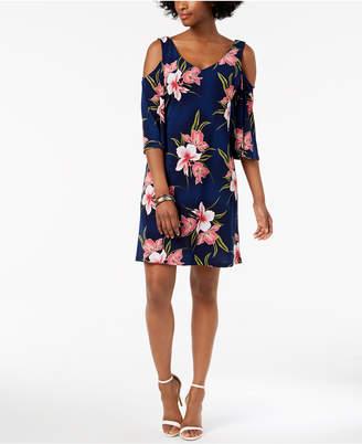 Connected Floral-Print Cold-Shoulder Shift Dress