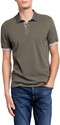 Brunello Cucinelli Men's Pique Polo Shirt with Contrast Detail