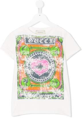 Gucci Kids distressed logo print T-shirt