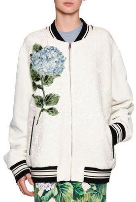 Dolce & Gabbana Hydrangea Jacquard Bomber Jacket, Off White $2,495 thestylecure.com