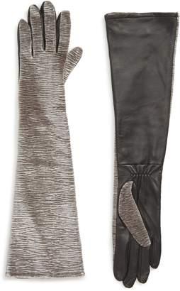 Badgley Mischka Velvet & Leather Long Gloves