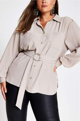 River Island Womens Mink Belted Utility Top - Brown