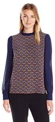 Lark & Ro Women's Sheer Sleeve Top