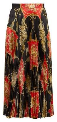Gucci Flower And Tassel Print Pleated Silk Midi Skirt - Womens - Red Multi