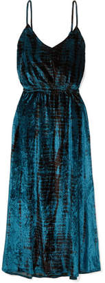 Mes Demoiselles Suzie Tie-dyed Crushed-velvet Midi Dress - Navy