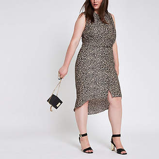 River Island Plus leopard print twist front shirt dress
