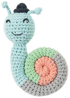 NEW Sneaky Snail Weegoamigo Crochet Rattle by The Little Linen Company