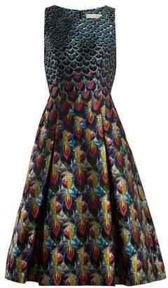 Mary Katrantzou Talon Feather Jacquard Midi Dress - Womens - Blue Multi