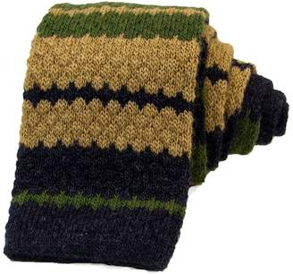 40 Colori - Olive Green Striped Wool & Cashmere Knitted Tie