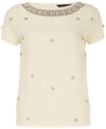 Dorothy Perkins Ivory pearl embellished top