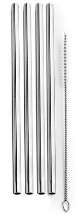GreenCo Greenco Unbreakable Stainless Steel Reusable Straws with Cleaning Brush (Set of 4), Stainless Steel