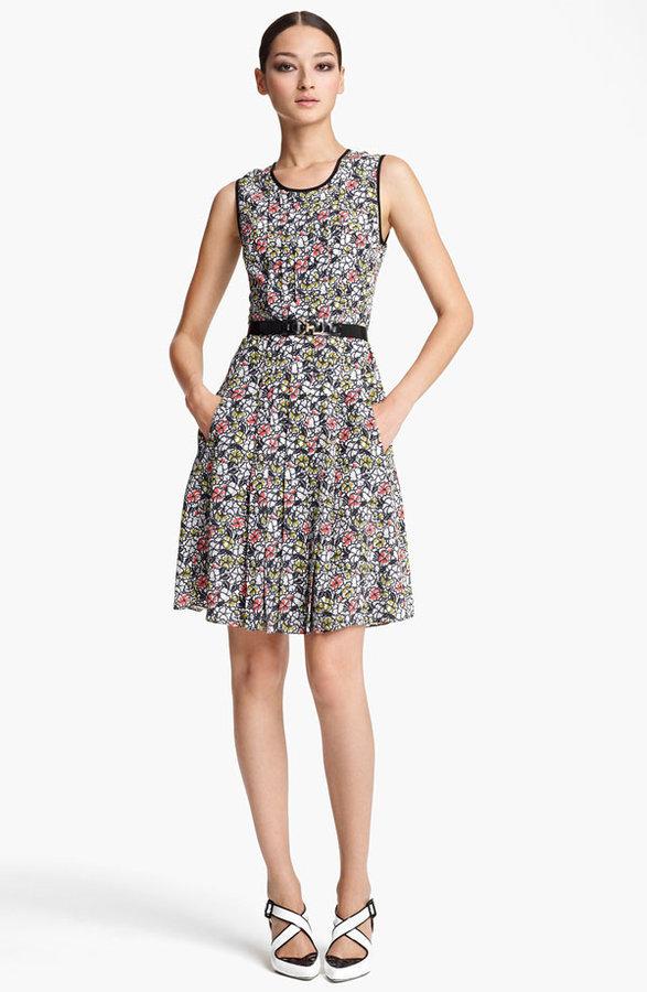 Jason Wu Belted Print Silk Dress