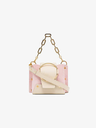 Yuzefi nude and pink Delila mini leather and suede cross-body bag