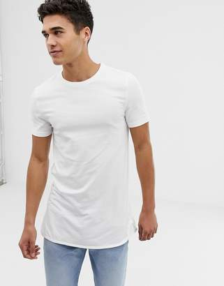 Asos DESIGN longline muscle fit t-shirt with bound curved hem in white