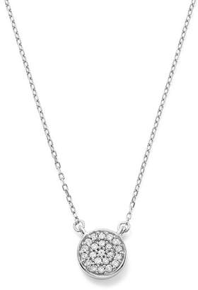 Adina 14K White Gold Pavé Diamond Disc Necklace, 15""