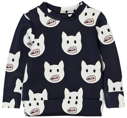 Caroline Bosmans Navy Emoticat Sweater