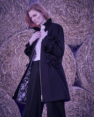 Ted Baker BLAYKLY Ruffle detail wool coat