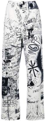 MM6 MAISON MARGIELA grafitti print track pants