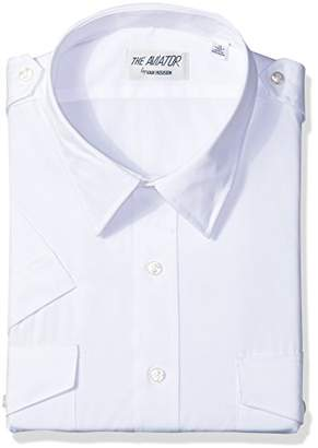 Van Heusen Mens Dress Shirts Short Sleeve Aviator Shirt Solid Spread Collar