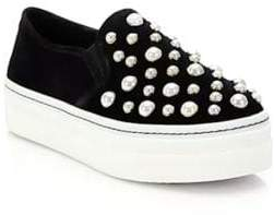 Alice + Olivia Sasha Suede and Faux Pearl Slip-On Sneakers