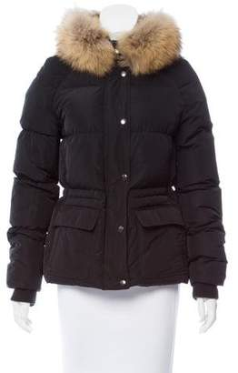 Theory Fur-Trimmed Hooded Coat