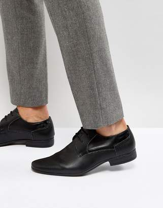 New Look Perforated Derby Shoes In Black