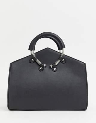 Asos Design DESIGN angled mini tote bag with grab ring