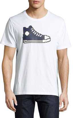 Mostly Heard Rarely Seen 8-Bit Sneaker Graphic T-Shirt, White/Navy $100 thestylecure.com