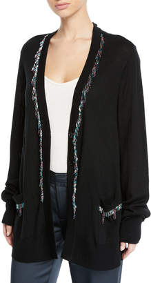 Nanette Lepore Mardi Gras Button-Front Duster Cardigan w/ Beaded Fringe Trim