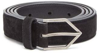 Saint Laurent Pointed-buckle suede belt