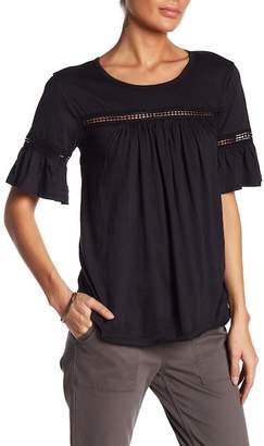 Bobeau Bell Sleeve Crochet Lace Insert Tee