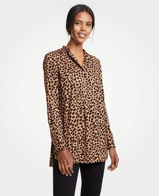 Ann Taylor Cheetah Dot Bib Tunic Top