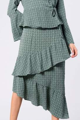 Next Womens Glamorous Printed Tiered Midi Skirt