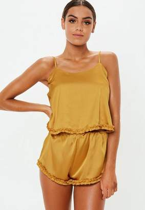 Missguided Mustard Ruffle Satin Cami Pyjama Short Set